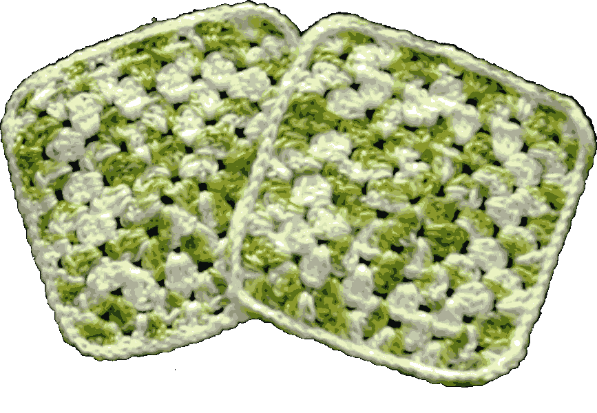 White-Green Hot Pad Set